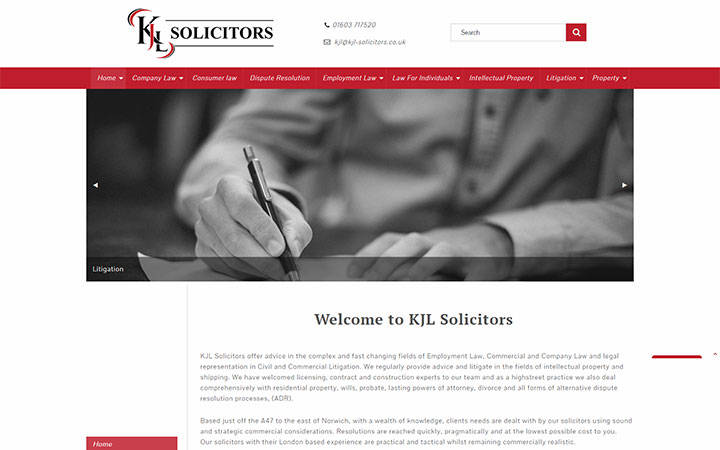 Frontpage view of KJL Solicitors website.