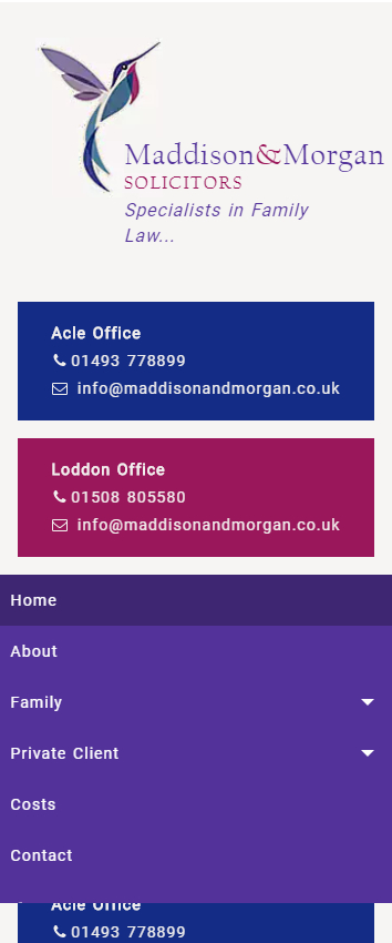 Representation of Maddison & Morgan Solicitors website on a mobile phone.