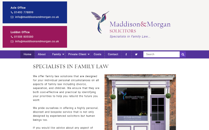Frontpage view of Maddison & Morgan Solicitors website.
