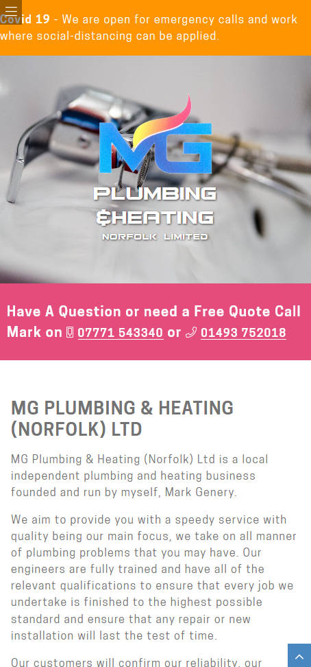Representation of MG Plumbing & Heating (Norfolk) Ltd website on a mobile phone.