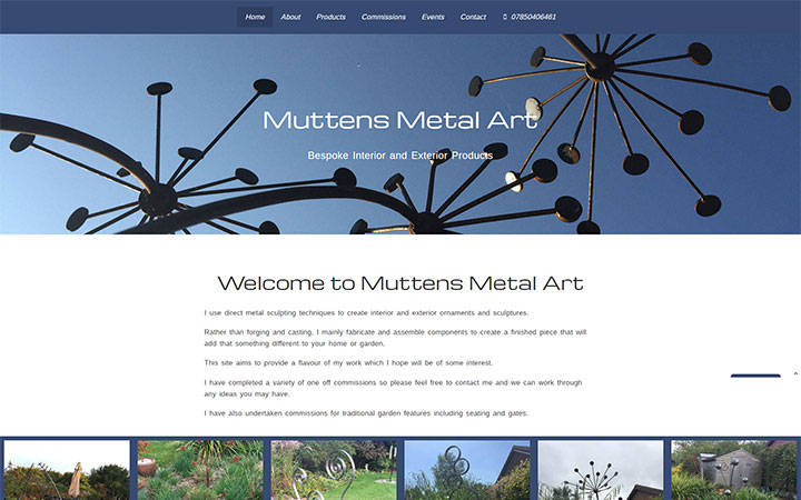 Representation of Muttens Metal Art website on a desktop computer.