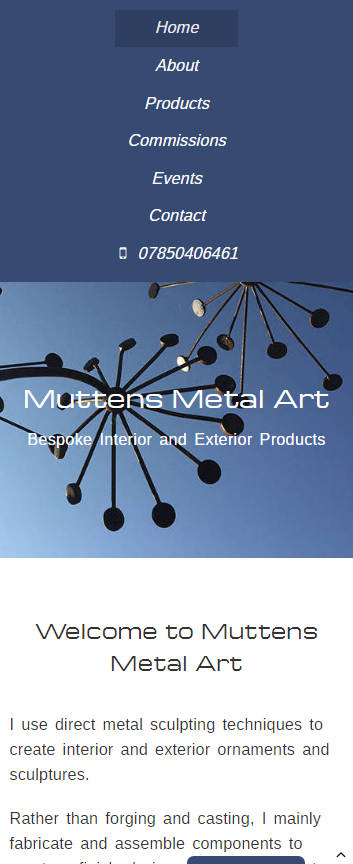 Representation of Muttens Metal Art website on a mobile phone.