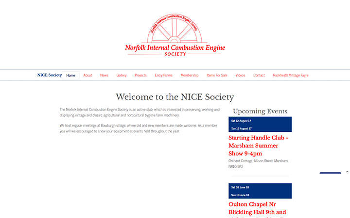 Frontpage view of Nice Society website.