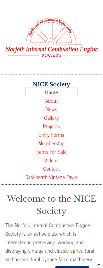 Representation of Nice Society website on a mobile phone.