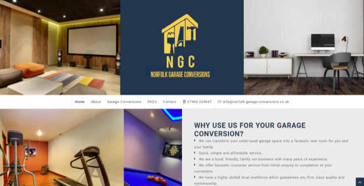 Frontpage view of Norfolk Garage Conversions website.