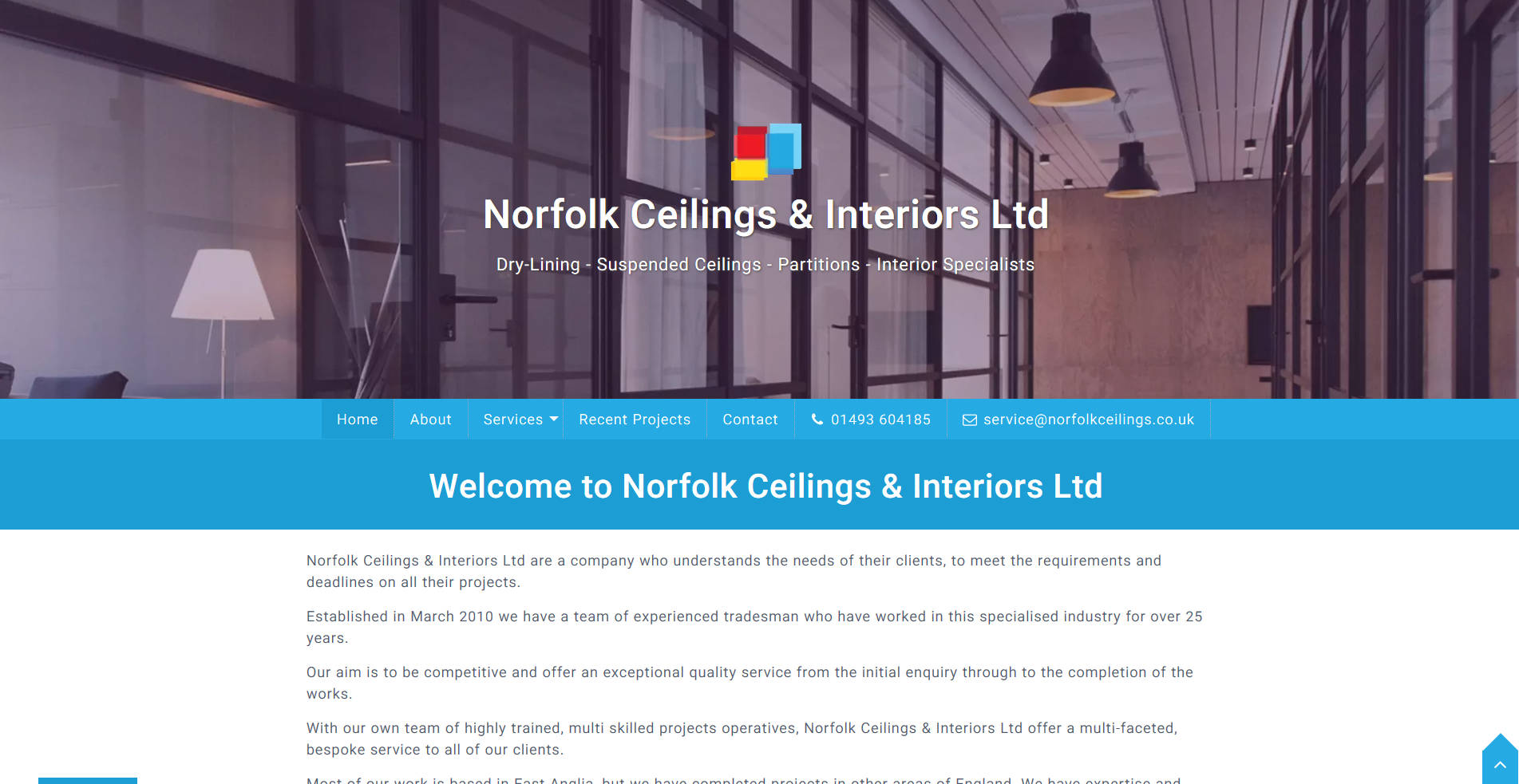Frontpage view of Norfolk Ceilings & Interiors website.