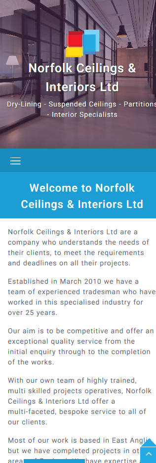 Representation of Norfolk Ceilings & Interiors website on a mobile phone.