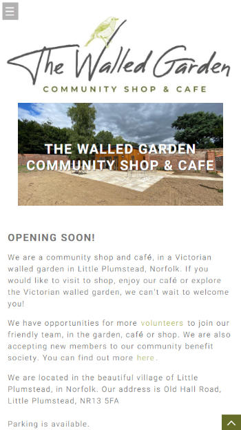 Representation of The Walled Garden Shop & Cafe website on a mobile phone.