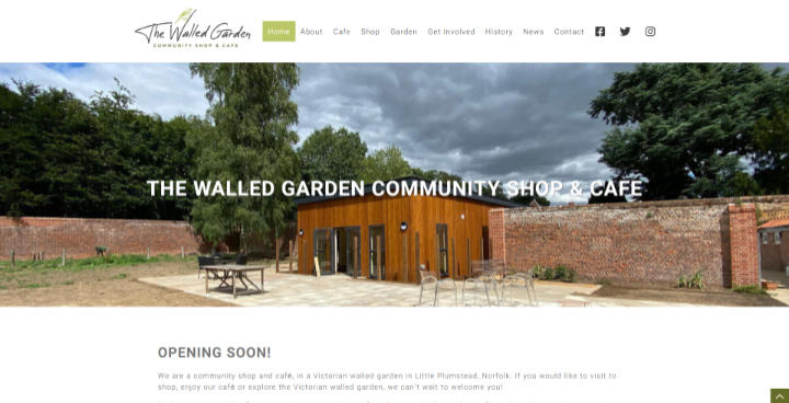 Frontpage view of The Walled Garden Shop & Cafe website.