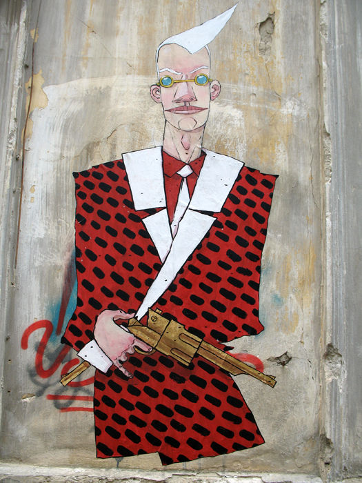 Œuvre Par Dimitri Taxis à Athènes (Personnages, Mur, Street Art)