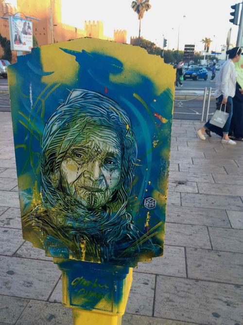 Œuvre Par C215 à Rabat (Collage, Equipement urbain, Street Art)