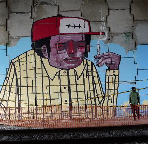 Œuvre Par Registred Kid à Barcelone (Portrait, Façades)