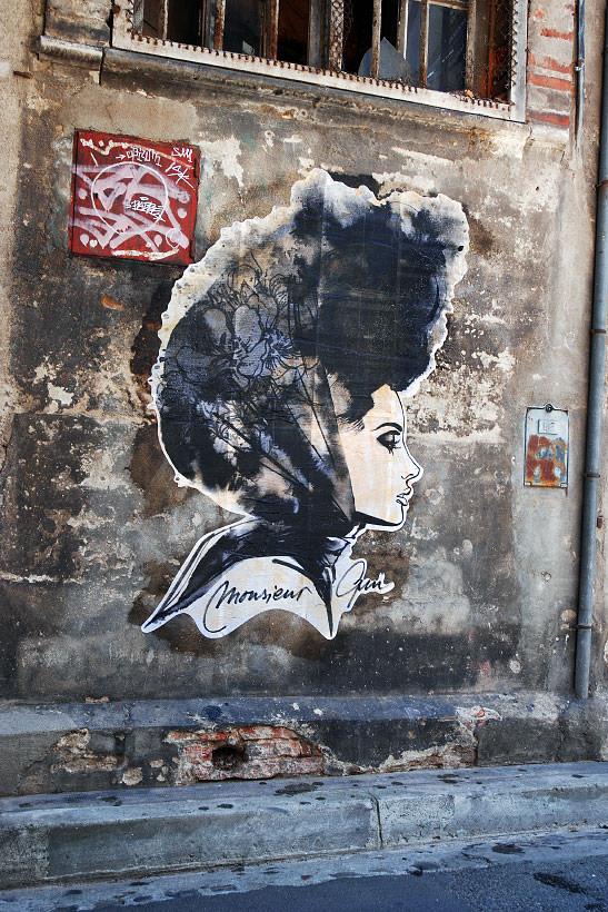 Œuvre Par Monsieur Qui à Paris (Personnages, Collage, Mur, Street Art)