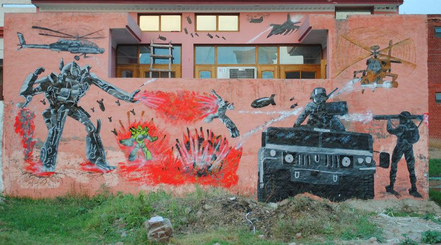 Œuvre Par sawan madman à Région de Chandigarh (Futuriste, Personnages, Aérosol, Mur, Street Art)