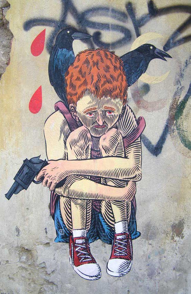 Œuvre Par Dimitri Taxis à Athènes (Personnages, Mur, Portrait)