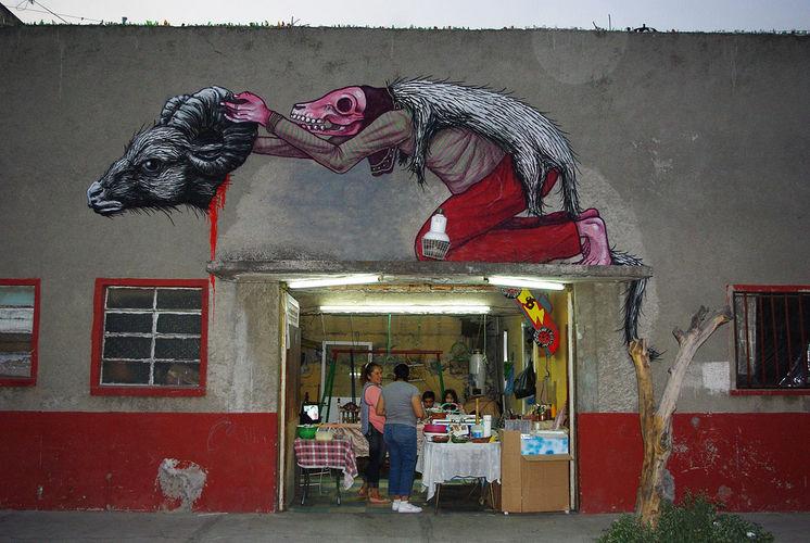 Œuvre Par Roa, Saner1 à Mexico (Personnages, Nature, Mur, Street Art)
