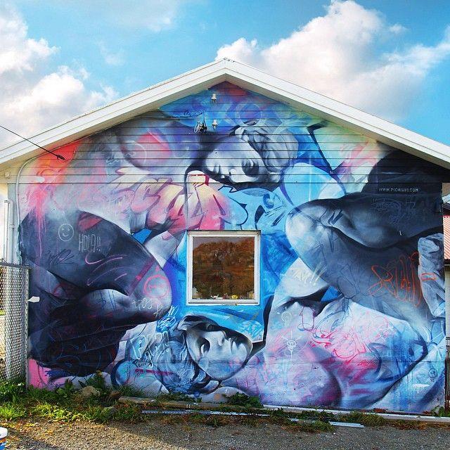 Œuvre Par PichiAvo à Coristanco (Personnages, Coloré, Street Art, Figuratif)