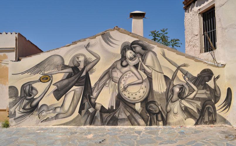 Œuvre Par Fikos à Athènes (Façade d'immeuble, Figuratif)