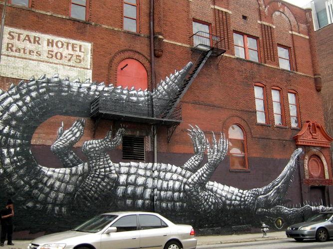 Œuvre Par Roa à Atlanta (Nature, Façade d'immeuble, Street Art)