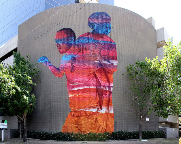 Artwork By Karl Addison, James Bullough in Phoenix (Characters, Street Art, Building facade)