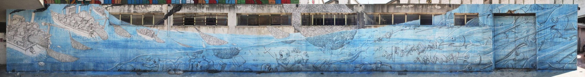 Artwork By Blu in Messina (Characters, Nature, Long wall, Street Art)