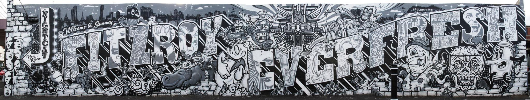 Artwork By Sync, Phibs, Rone, Mike Makatron, Reka One  (Cartoon, Long wall)