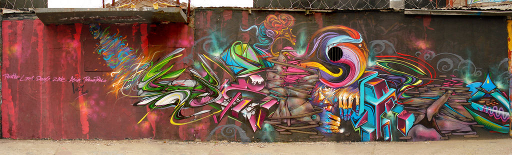 Artwork By LRM, Painters in La Serena (Long wall)