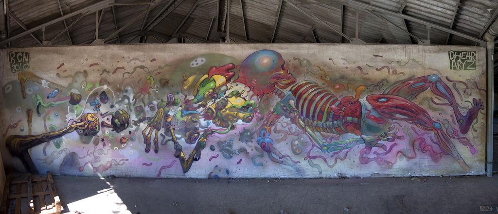 Œuvre Par Aryz, Dhear à Carthagène, région de Murcie