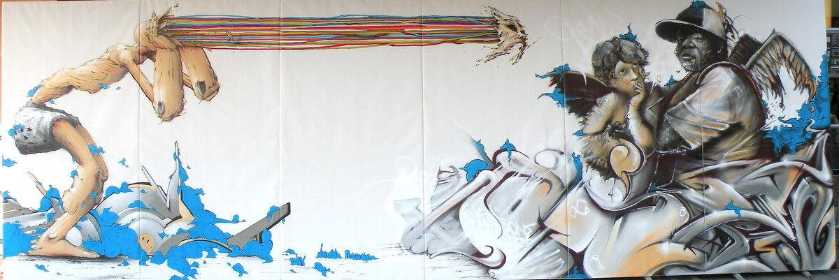 Œuvre Par Rensone, Brusk à Strasbourg (Personnages, Aérosol)