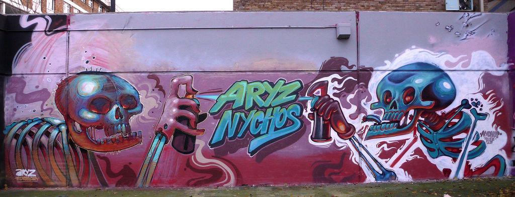 Artwork By Aryz, Nychos in London