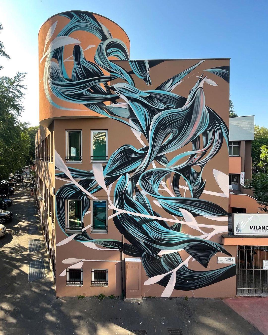 Artwork By Pantonio in Milan (Building facade, Murals)