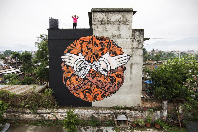 Œuvre  à Katmandou