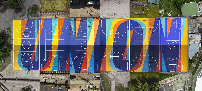 Des artistes redessinent l'espace urbain en ajoutant de la couleur aux terrains de sport