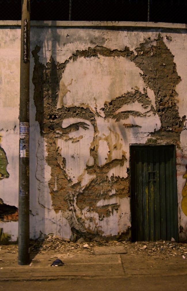 Œuvre Par Vhils à Porto