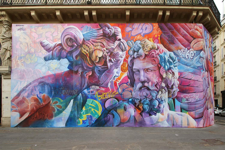 PichiAvo mêlent les Dieux grecs au graffiti à un jet de pierre de la Seine