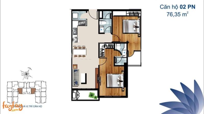 2BR Unit layout