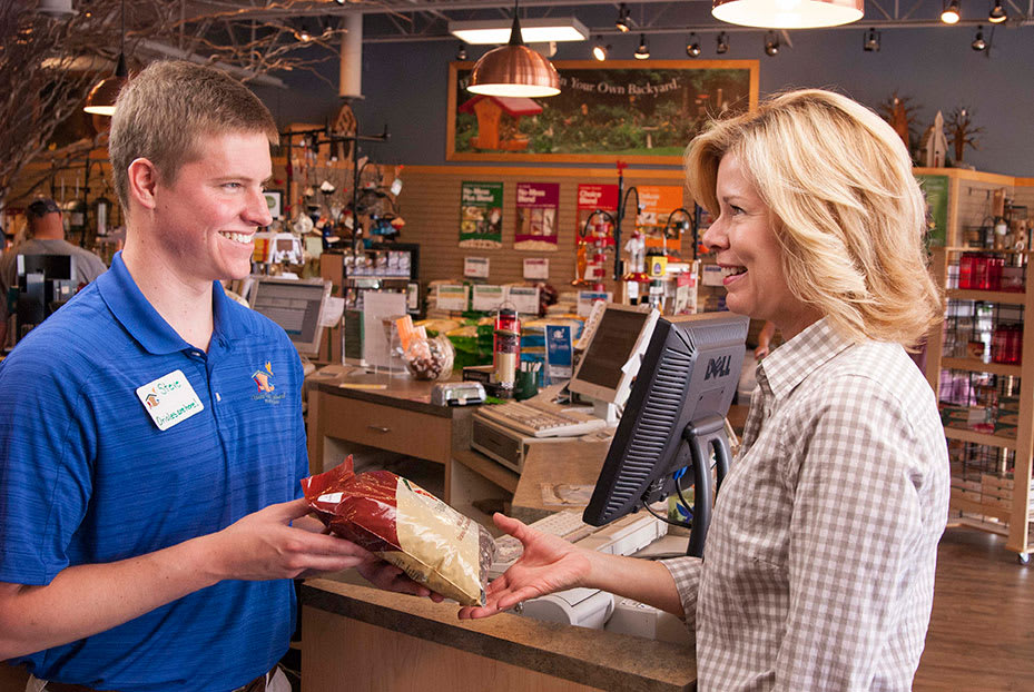 Transaction with customer at Wild Birds Unlimited