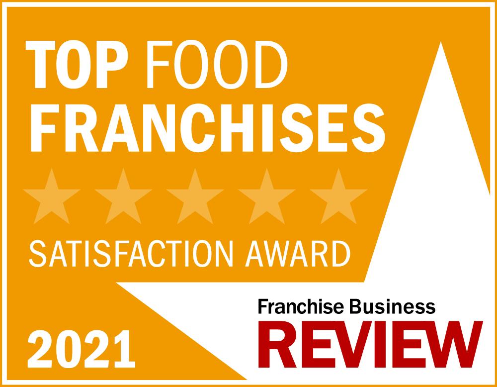 Top Food Franchise Satisfaction Award Graphic 2021 -yellow
