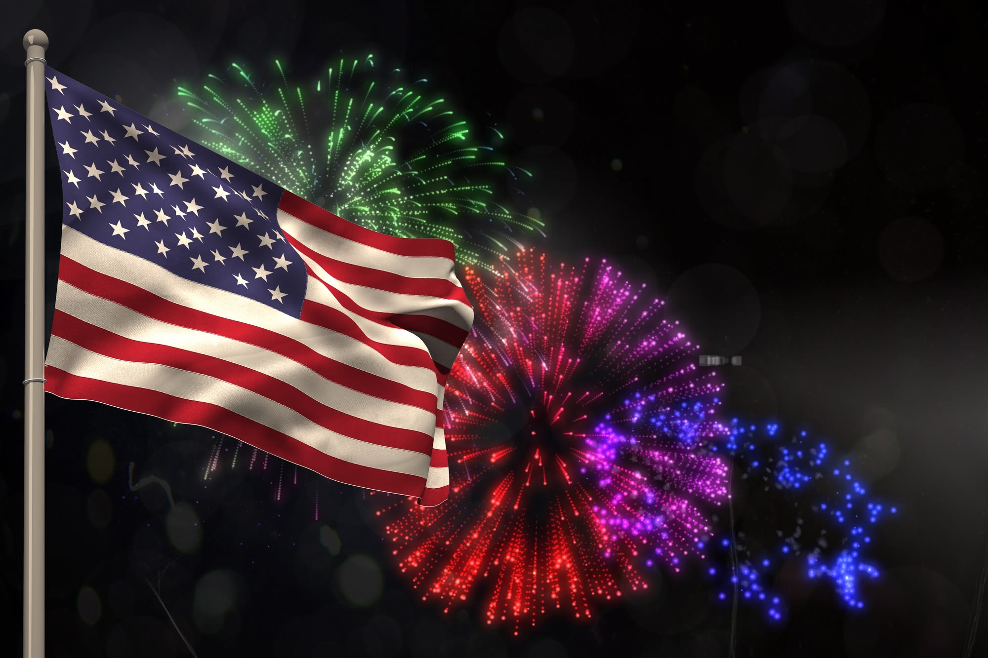 American+flag+and+fireworks