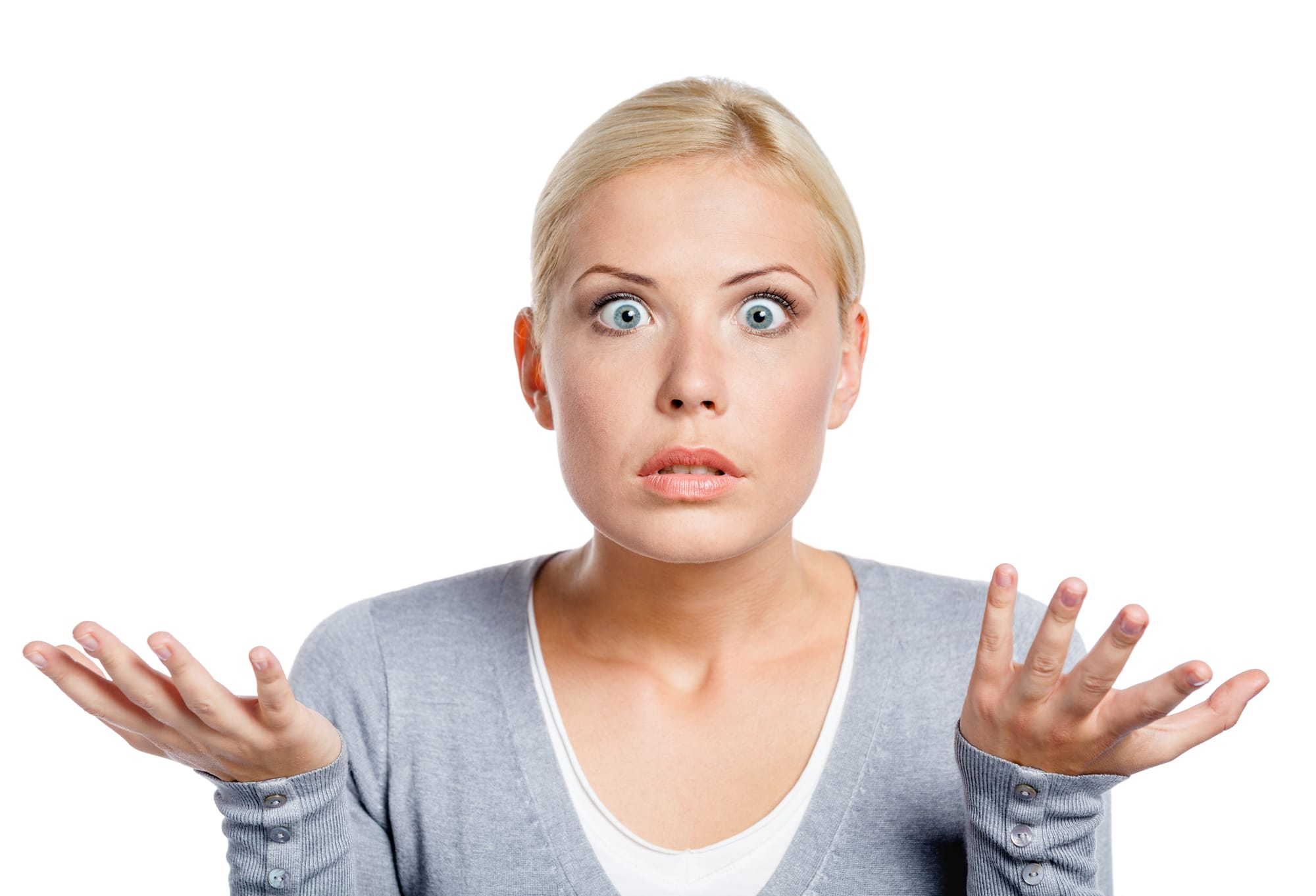 Worried woman shrugging