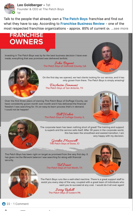 The Patch Boys franchisee testimonials