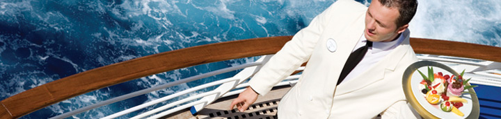 Waiter on cruise deck