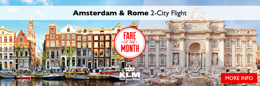 Fare of the Month - 2-City Flight to Amsterdam & Rome with KLM