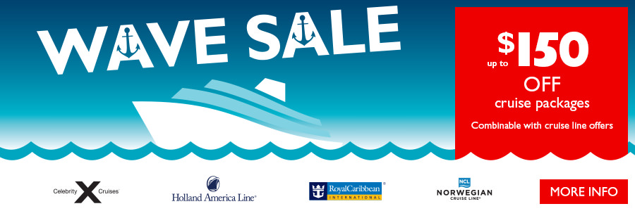 Flight Centre's Wave Sale - Save up to $150* on cruise packages!
