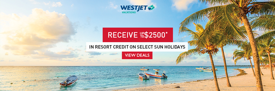 Receive up to $2500 in resort credit on select sun holidays with WestJet Vacations