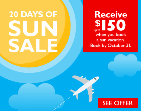 20 days of sun sale - receive up to $150