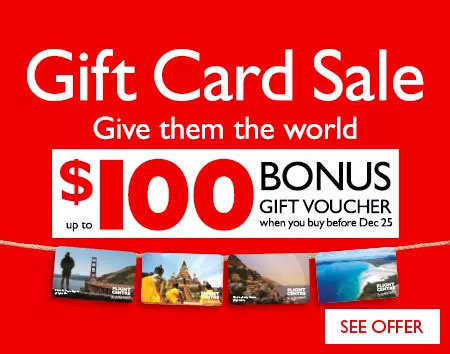 Gift Card Sale - up to $100 BONUS gift voucher when you buy before Dec 25