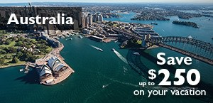 Australia - Save up to $250 on your vacation.