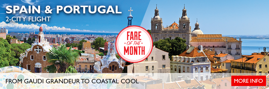 April's Fare of the Month - 2-City Flight to Spain & Portugal!