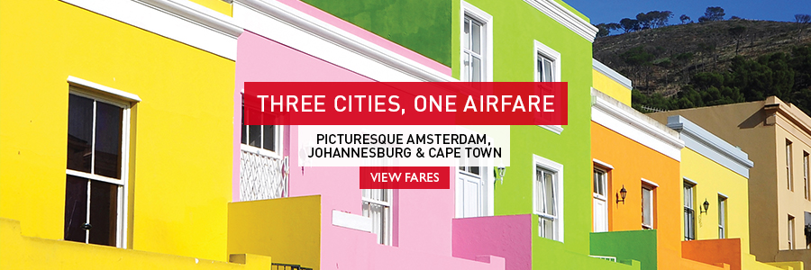 Three Cities, One Airfare - Picturesque Amsterdam, Johannesburg & Cape Town with KLM! Ask an Expert today!